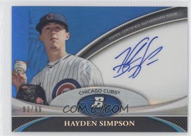2011 Bowman Platinum - Prospect Autographs - Blue Refractor #BPA-HS - Hayden Simpson /99
