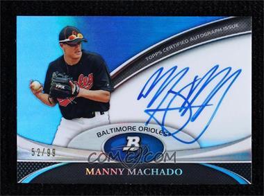 2011 Bowman Platinum - Prospect Autographs - Blue Refractor #BPA-MM - Manny Machado /99