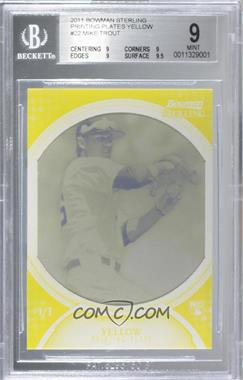 2011 Bowman Sterling - [Base] - Printing Plate Yellow #22 - Mike Trout /1 [BGS 9 MINT]