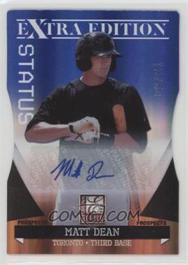 2011 Donruss Elite Extra Edition - Autographed Prospects - Blue Die-Cut Status #P-32 - Matt Dean /50