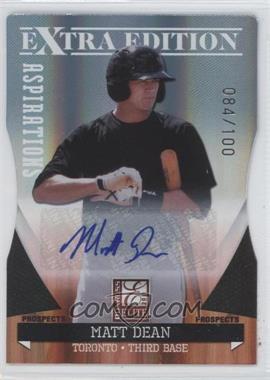 2011 Donruss Elite Extra Edition - Autographed Prospects - Die-Cut Aspirations #P-32 - Matt Dean /100