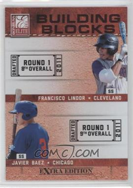 2011 Donruss Elite Extra Edition - Building Blocks Quads #2 - Francisco Lindor, Javier Baez, Jake Hager, Levi Michael