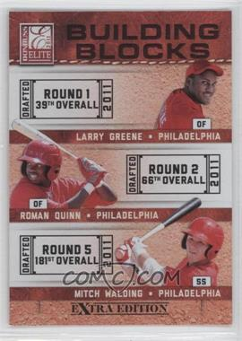 2011 Donruss Elite Extra Edition - Building Blocks Trios #10 - Larry Greene, Mitch Walding, Roman Quinn