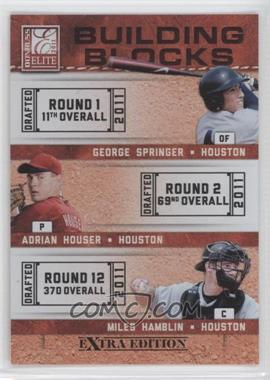 2011 Donruss Elite Extra Edition - Building Blocks Trios #4 - Miles Hamblin, Adrian Houser, George Springer
