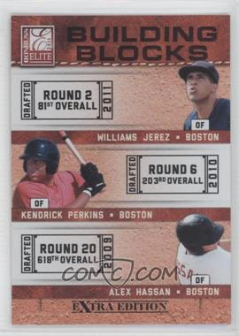 2011 Donruss Elite Extra Edition - Building Blocks Trios #7 - Kendrick Perkins, Williams Jerez, Alex Hassan