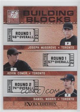 2011 Donruss Elite Extra Edition - Building Blocks Trios #9 - Daniel Norris, Joseph Musgrove, Kevin Comer