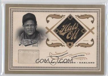 2011 Playoff Prime Cuts - Hats Off Materials #19 - Rickey Henderson /49