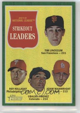 2011 Topps Heritage Chrome - [Base] - Green Border Refractor #C15 - Adam Wainwright, Tim Lincecum, Ubaldo Jimenez, Roy Halladay