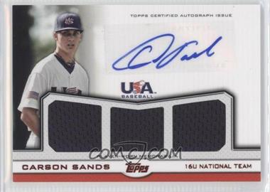 2011 Topps USA Baseball Team - Autographed Triple Relics - Red #ATR-CSA - Carson Sands /25
