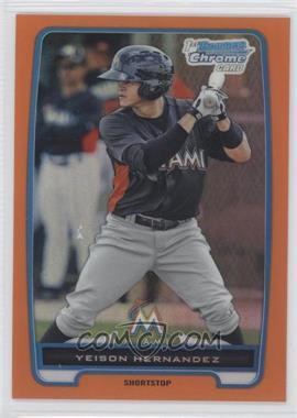 2012 Bowman - Chrome Prospects - Orange Refractor #BCP177 - Yeison Hernandez /25