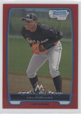 2012 Bowman - Chrome Prospects - Red Refractor #BCP192 - Felix Munoz /5