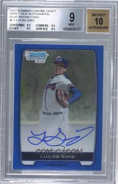 2012 Bowman Draft Picks & Prospects - Chrome Draft Picks Certified Autographs - Blue Refractor #BCA-LS - Lucas Sims /150 [BGS9]