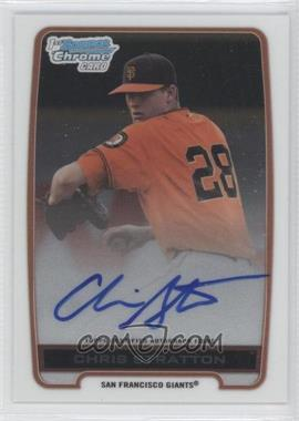 2012 Bowman Draft Picks & Prospects - Chrome Draft Picks Certified Autographs #BCA-CST - Chris Stratton