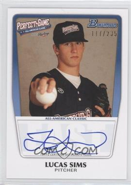 2012 Bowman Draft Picks & Prospects - Perfect Game All-American Autograph - [Autographed] #AAC-LS - Lucas Sims /235