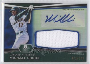 2012 Bowman Platinum - Autographed Relic - Blue Refractor #AR-MC - Michael Choice /199
