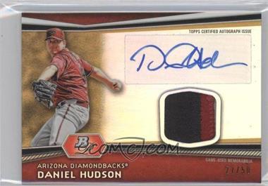2012 Bowman Platinum - Autographed Relic - Gold Refractor Patch #AR-DH - Daniel Hudson /50