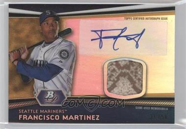 2012 Bowman Platinum - Autographed Relic - Gold Refractor Patch #AR-FM - Francisco Martinez /50