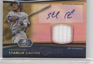 2012 Bowman Platinum - Autographed Relic - Gold Refractor Patch #AR-SC - Starlin Castro /50