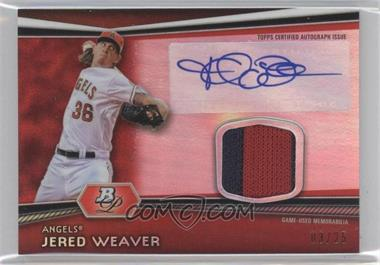 2012 Bowman Platinum - Autographed Relic - Red Refractor Patch #AR-JW - Jered Weaver /25