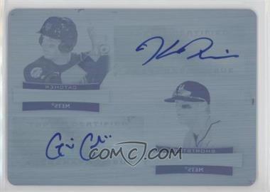 2012 Bowman Sterling - Dual Autographs - Printing Plate Cyan #DA-PC - Kevin Plawecki, Gavin Cecchini /1
