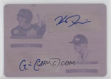 2012 Bowman Sterling - Dual Autographs - Printing Plate Magenta #DA-PC - Kevin Plawecki, Gavin Cecchini /1