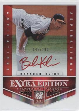 2012 Elite Extra Edition - [Base] - Aspirations Die-Cut Signatures [Autographed] #155 - Branden Kline /100
