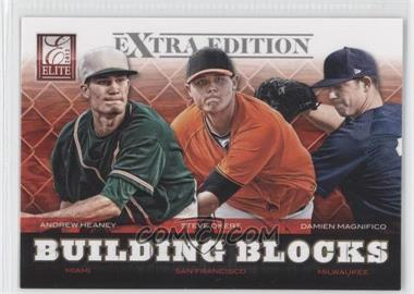 2012 Elite Extra Edition - Building Blocks Trio #8 - Andrew Heaney, Steve Okert, Damien Magnifico