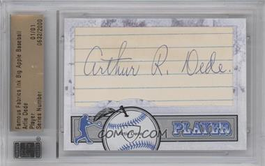 2012 Famous Fabrics Ink Big Apple Baseball - Player Cut Autographs #ARDE - Artie Dede /1 [ENCASED]