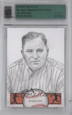 2012 Famous Fabrics Ink Big Apple Baseball - Sketch Cards #3 - Joe McCarthy /1 [ENCASED]
