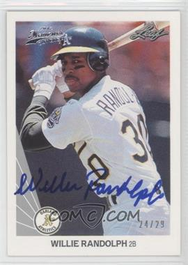 2012 Leaf Memories - 1990 Leaf Buy Back - [Autographed] #345 - Willie Randolph /29