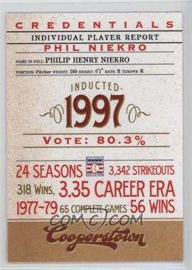 2012 Panini Cooperstown - Credentials #13 - Phil Niekro