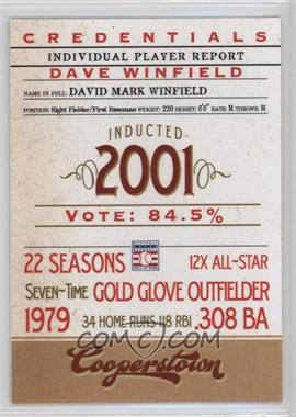 2012 Panini Cooperstown - Credentials #8 - Dave Winfield