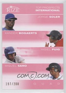 2012 Rize - Top Prospects Quad - Pink #N/A - Jorge Soler, Xander Bogaerts, Yasiel Puig /200