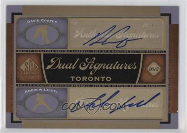 2012 SP Signature Edition - Dual Signatures #TOR12 - David Cooper, Andrew Liebel