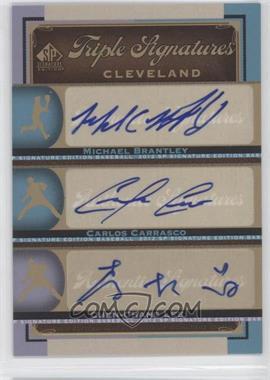 2012 SP Signature Edition - Triple Signatures #CLV13 - Michael Brantley, Carlos Carrasco, Chen-Chang Lee