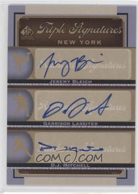 2012 SP Signature Edition - Triple Signatures #NYY25 - Jeremy Bleich, Garren Lassiter, D.J. Mitchell