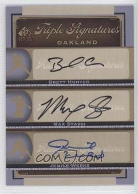 2012 SP Signature Edition - Triple Signatures #OAK18 - Jemile Weeks, Brett Hunter, Max Stassi