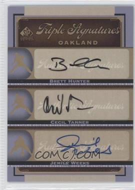 2012 SP Signature Edition - Triple Signatures #OAK19 - Jemile Weeks, Brett Hunter, Cecil Tanner