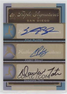 2012 SP Signature Edition - Triple Signatures #SD12 - Kyle Blanks, Casey Kelly, Donavan Tate