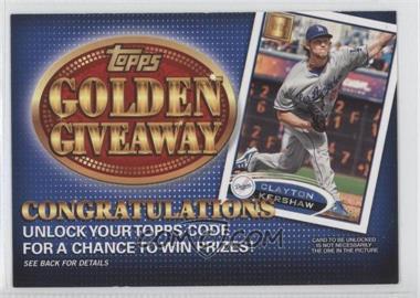 2012 Topps - Golden Giveaway Code Cards #GGC-14 - Clayton Kershaw