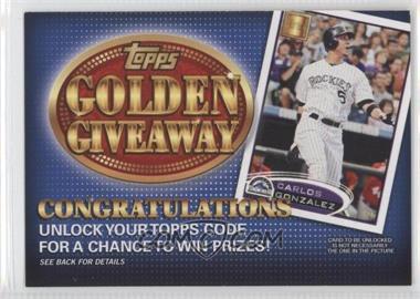 2012 Topps - Golden Giveaway Code Cards #GGC-15 - Carlos Gonzalez