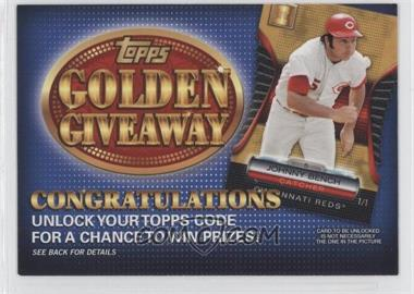2012 Topps - Golden Giveaway Code Cards #GGC-16 - Johnny Bench
