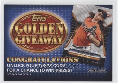 2012 Topps - Golden Giveaway Code Cards #GGC-17 - Tim Lincecum