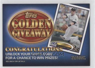 2012 Topps - Golden Giveaway Code Cards #GGC-2 - Troy Tulowitzki
