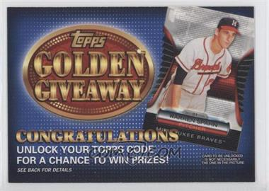 2012 Topps - Golden Giveaway Code Cards #GGC-25 - Warren Spahn