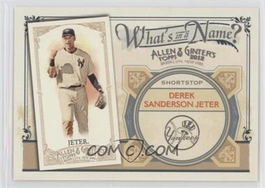2012 Topps Allen & Ginter's - What's in a Name? #WIN52 - Derek Jeter