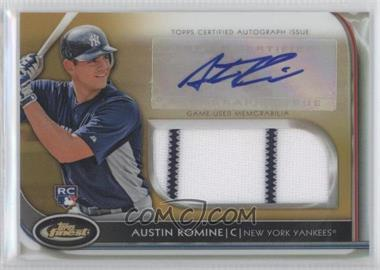 2012 Topps Finest - Autographed Jumbo Relic Rookies - Gold Refractor #AJR-ARO - Austin Romine /50