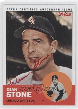 2012 Topps Heritage - Real One Certified Autographs - Special Edition Red Ink #ROA-DST - Dean Stone /63