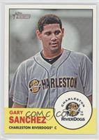 Gary Sanchez (Yellow Background; RiverDogs logo in Inset)