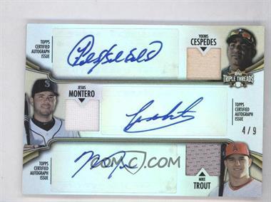 2012 Topps Triple Threads - Combos Autographed Relics - Gold #TTARC-9 - Yoenis Cespedes, Jesus Montero, Mike Trout /9
